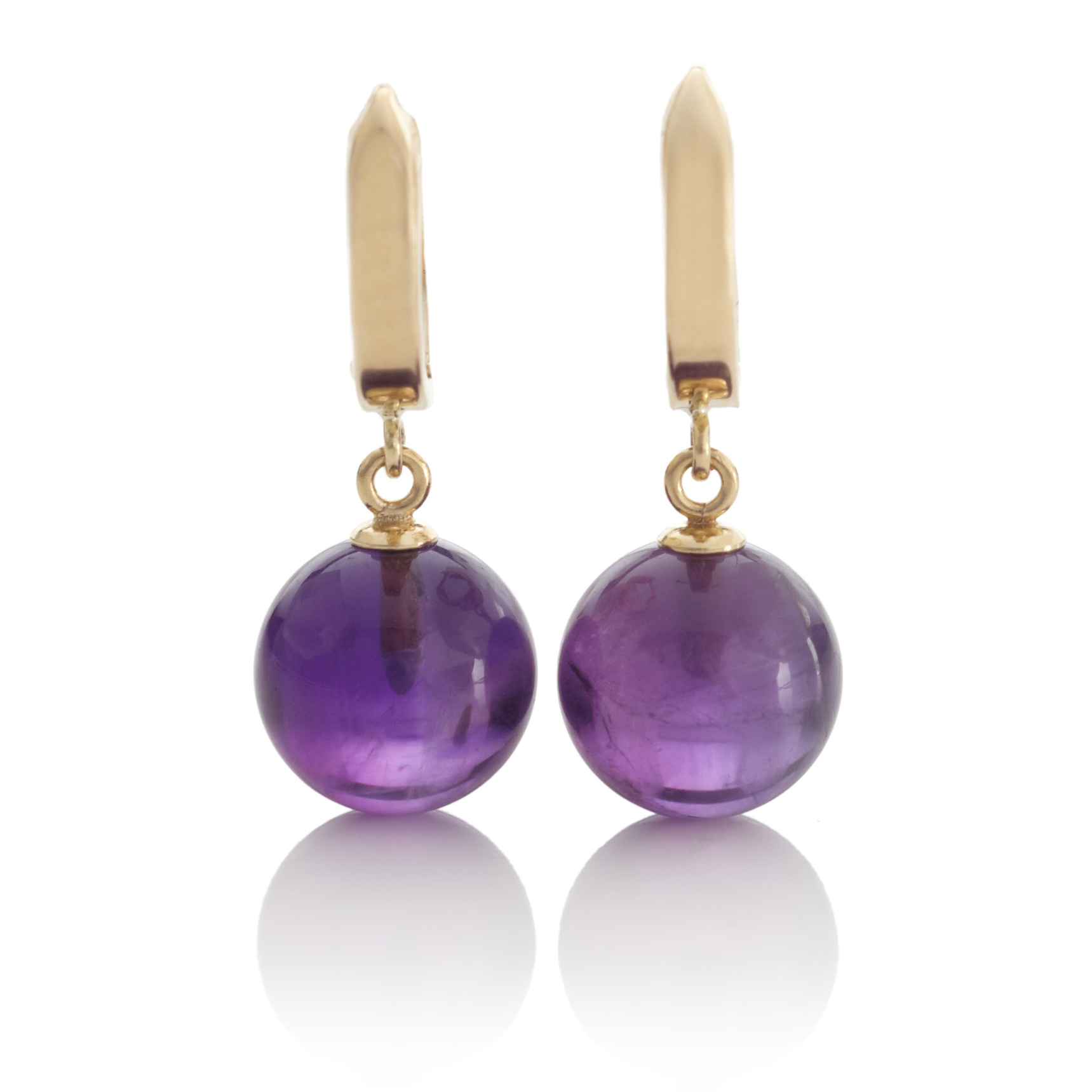 Gump's Gold Hoop & Amethyst Drop Earrings