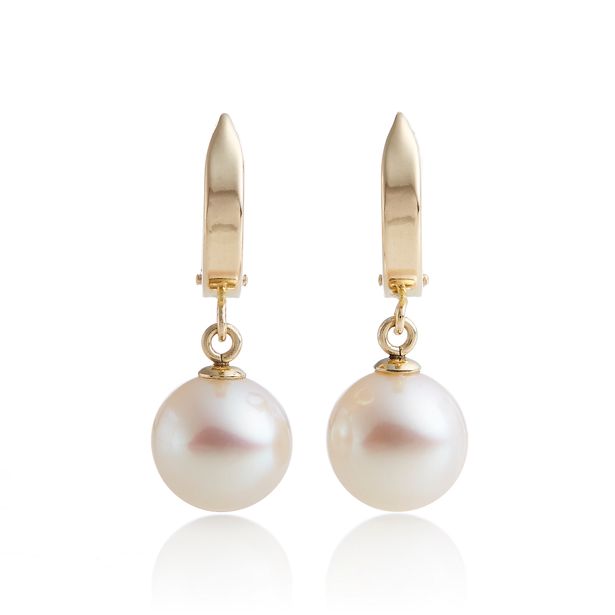 Gump's Gold Hoop & Freshwater Cultured Pearl Drop Earrings