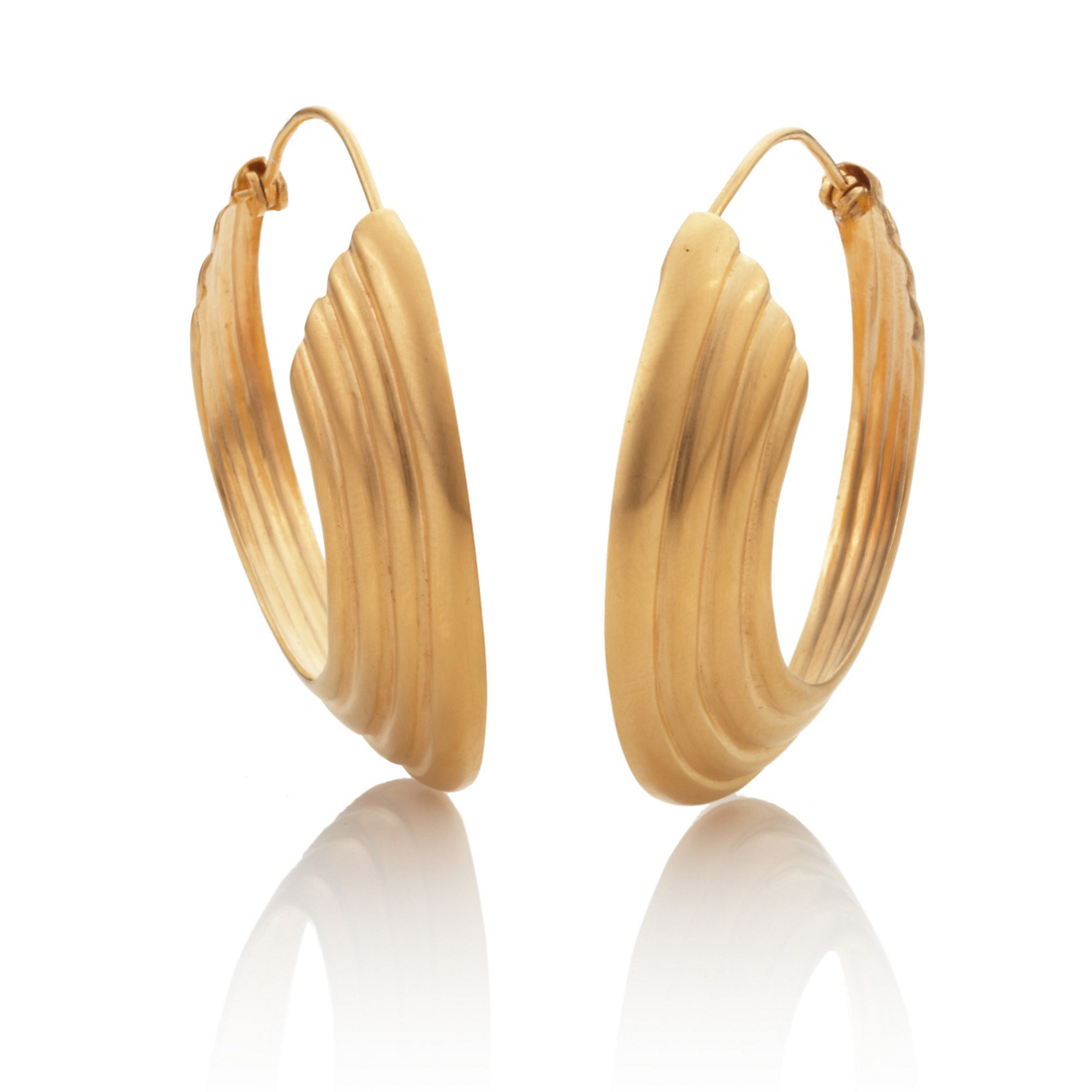 Anticoa Grooved Gold Vermeil Hoop Earrings