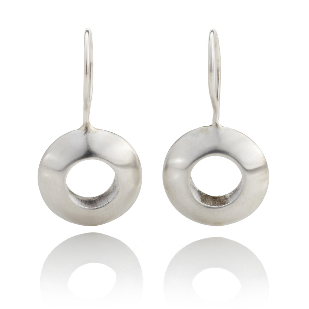 Anticoa Silver Puffed Disc Drop Earrings