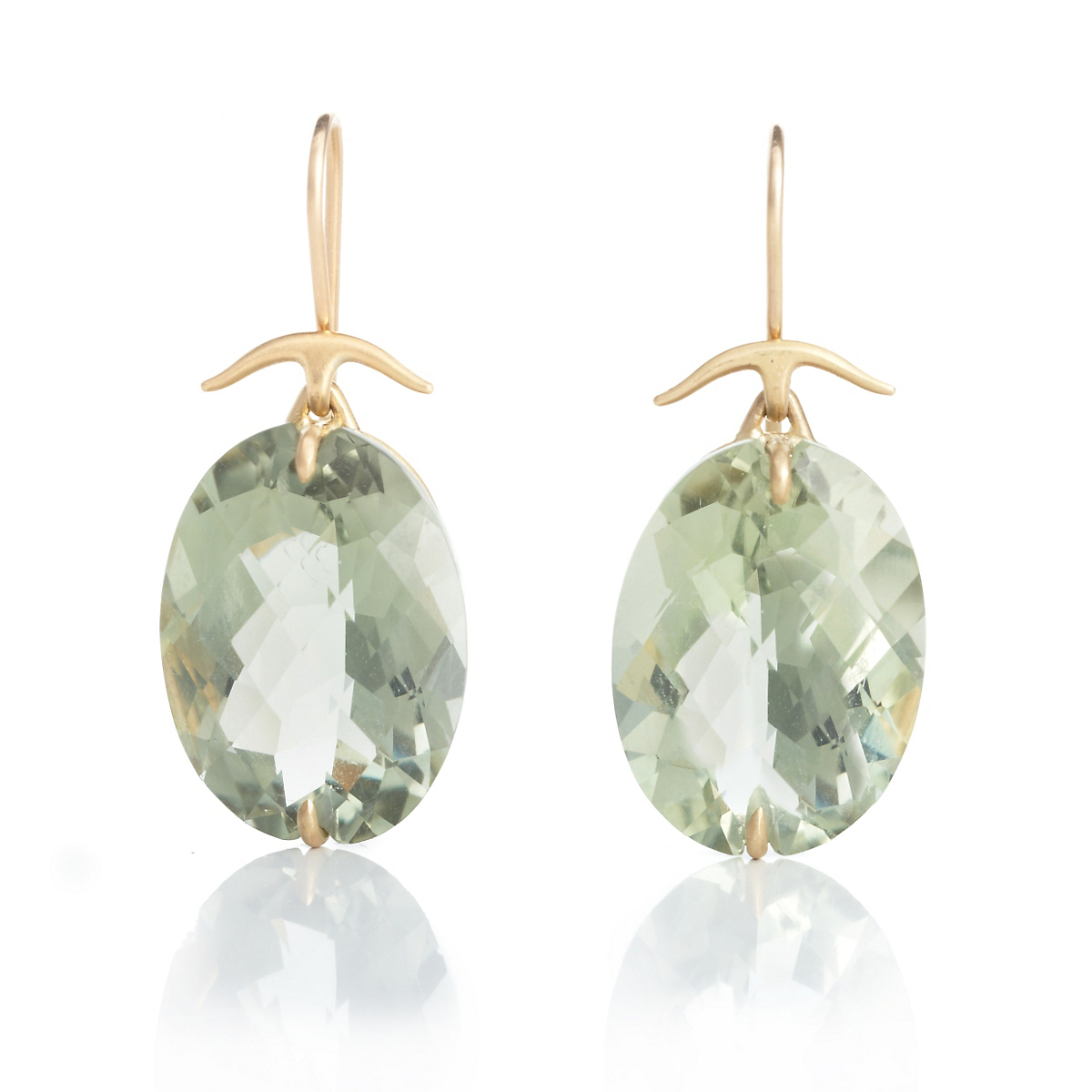 Gabriella Kiss Faceted Oval Green Amethyst Gold Drop Earrings