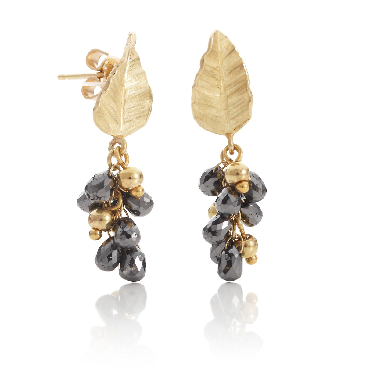 Barbara Heinrich Black Diamond & Gold Leaf Top Earrings