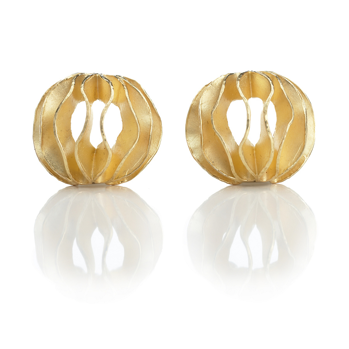 Barbara Heinrich Large Gold Waveball Earrings