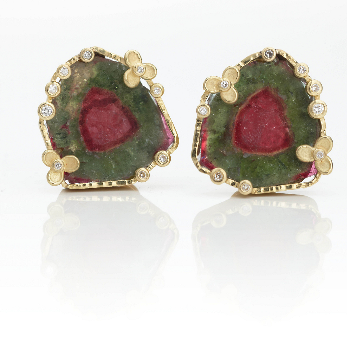 Barbara Heinrich Watermelon Tourmaline & Diamond Earclips