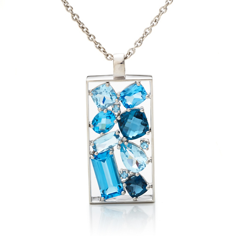 Gump's Multi Blue Topaz Silver Cluster Necklace