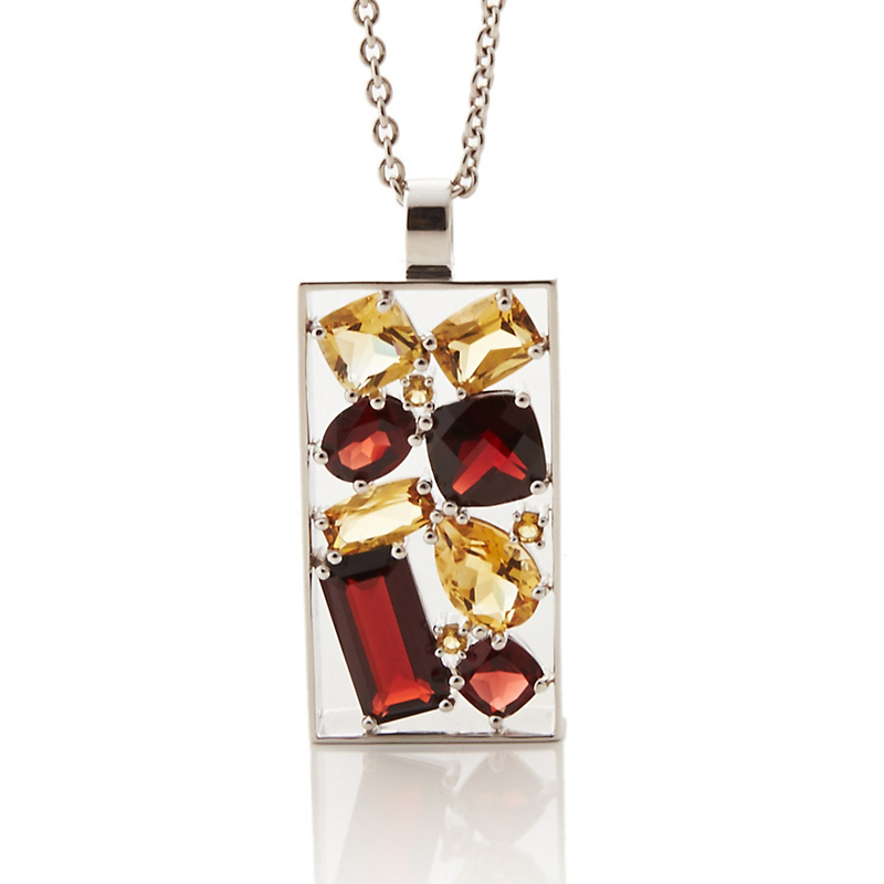 Gump's Faceted Citrine, Garnet & Silver Cluster Necklace