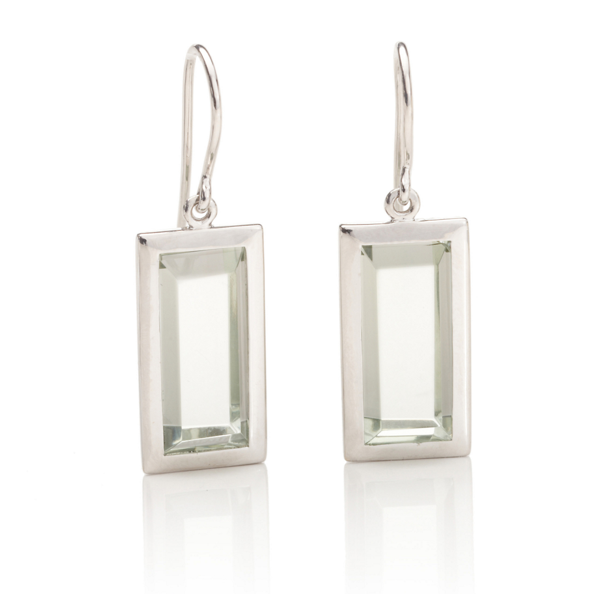 Gump's Faceted Light Green Quartz Drop Earrings