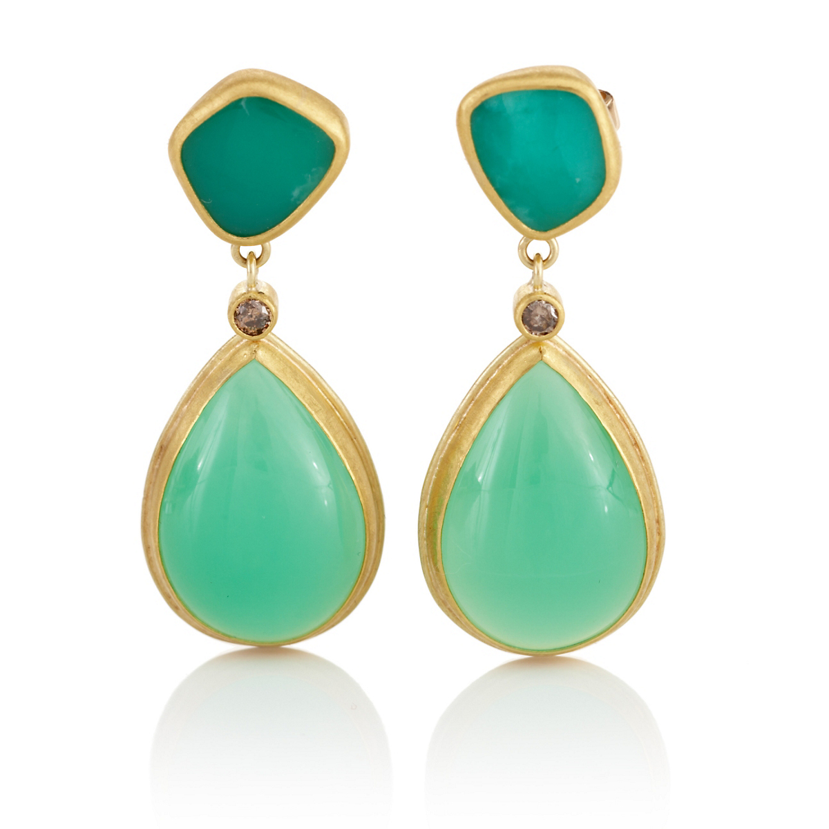 Petra Class Chrysoprase & Brown Diamond Drop Earrings