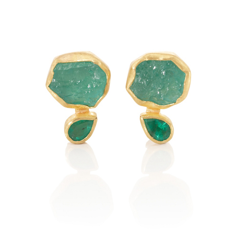 Petra Class Crystal & Faceted Emerald Earrings