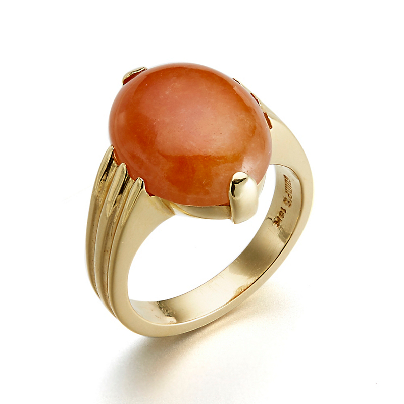 Gump's Two Prong Red Jade Cabochon Grooved Shank Ring