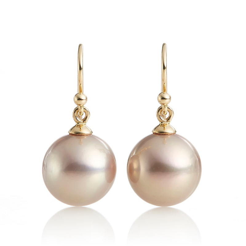 Gump's Round Bronze Fresh Water Pearl Drop Earrings