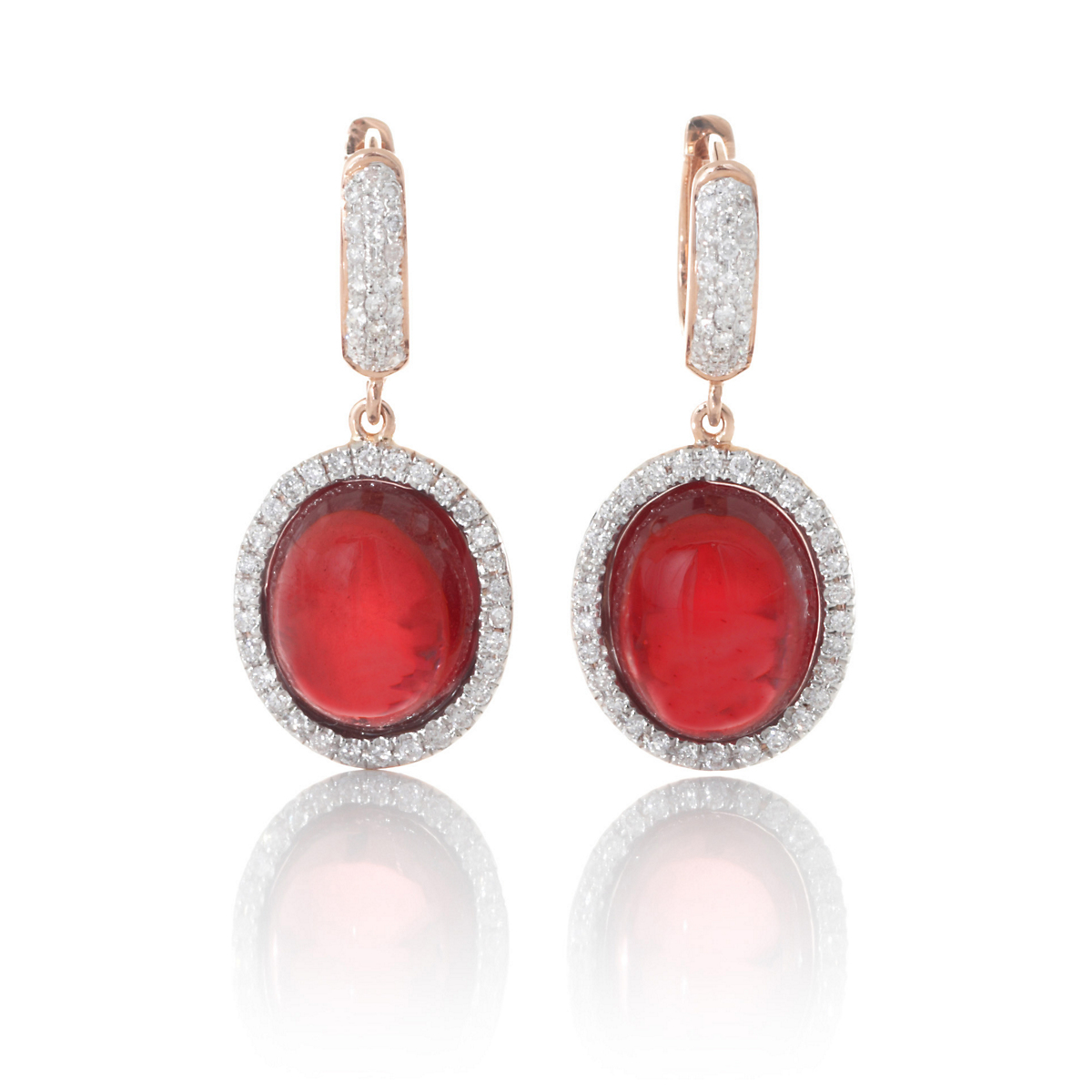Oval Garnet With Diamonds Drop Earrings