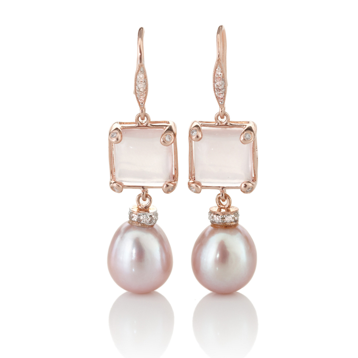Rose Quartz & Pink Pearl Drop Earrings