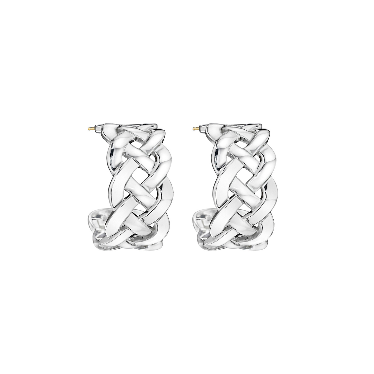 Sterling Silver Classic Open Braid Hoop Earrings