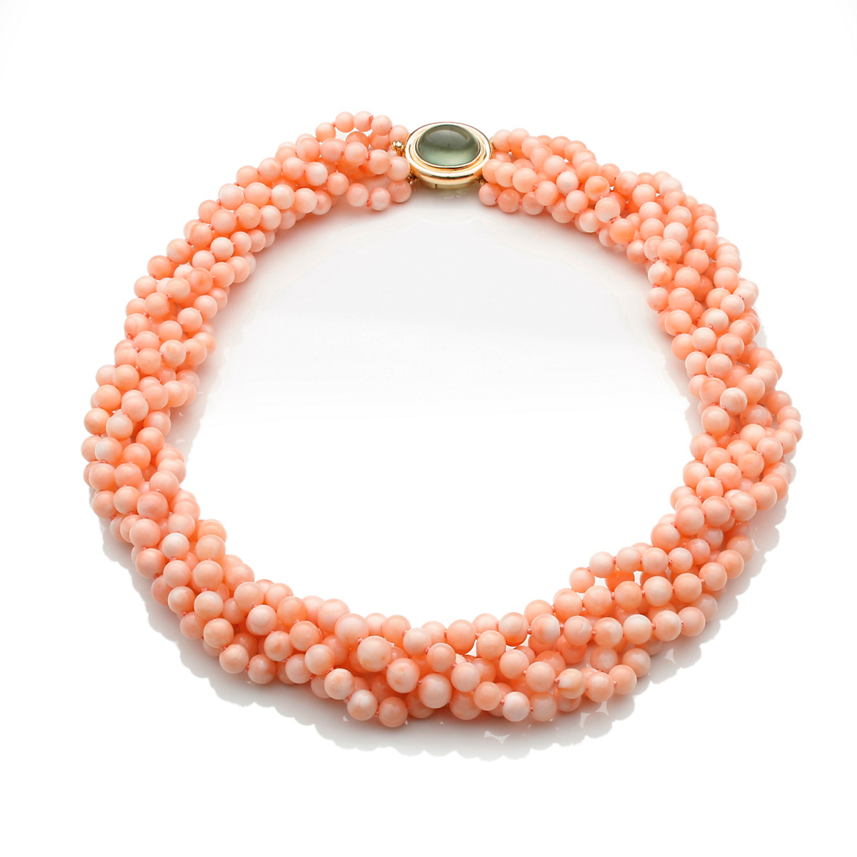 Gump's Six-Strand Pink Coral Necklace