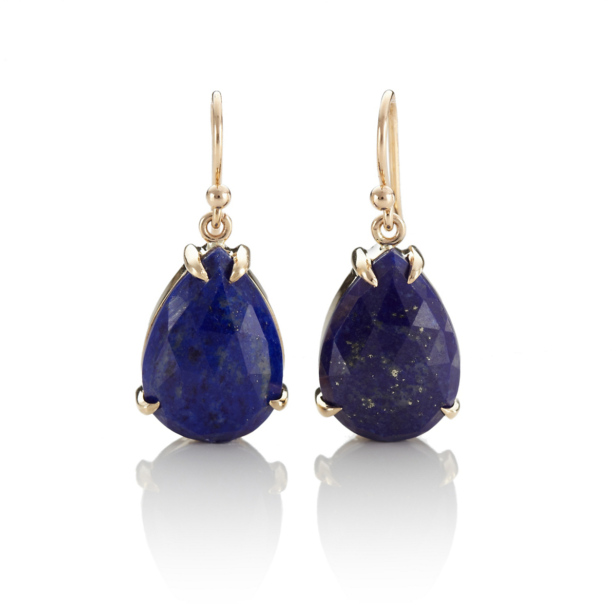 Gump's Faceted Lapis Slice Teardrop Earrings