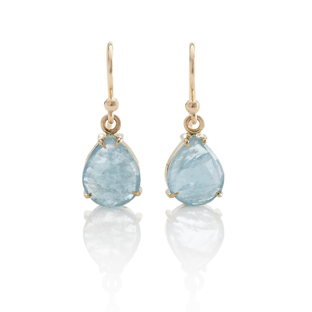 Gump's Aquamarine Rose Cut Drop Earrings