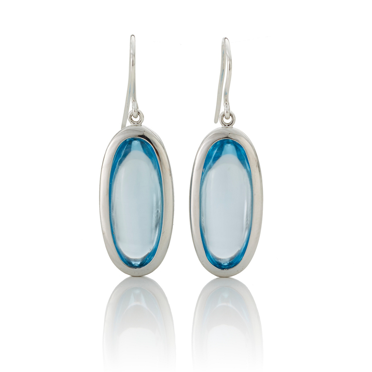 Gump's Blue Topaz Oval Drop Earrings