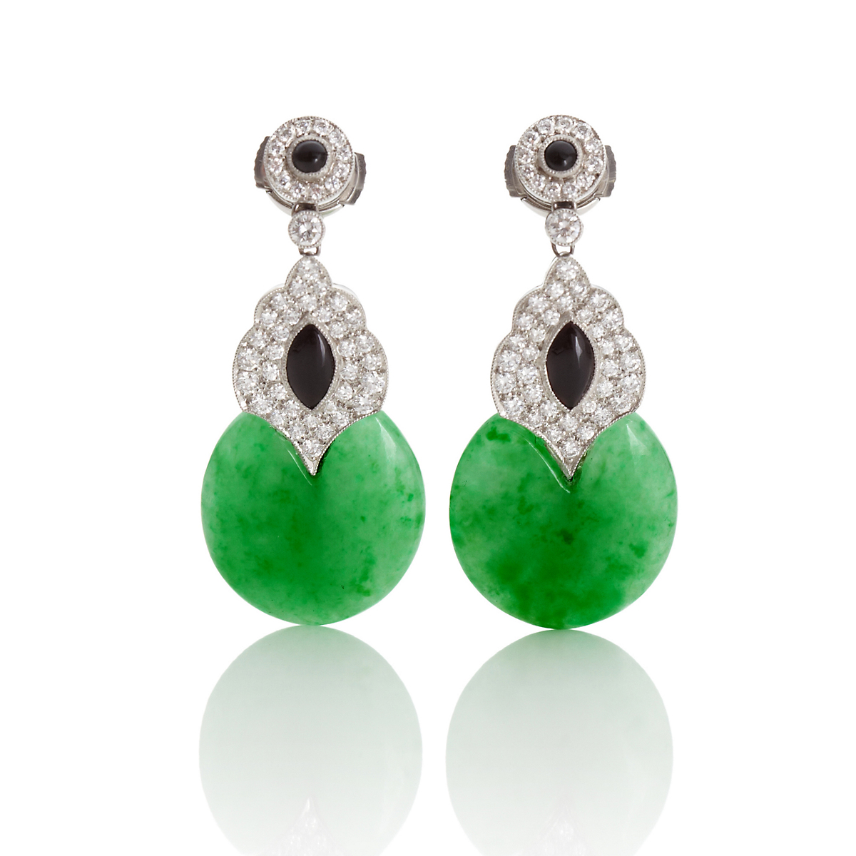 Green Jade & Onyx Drop Earrings
