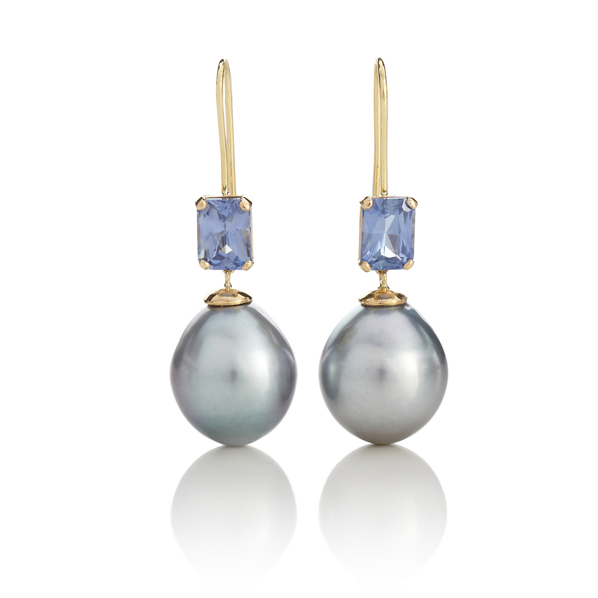 Gump's Tahitian Cultured Pearl & Sapphire Drop Earrings