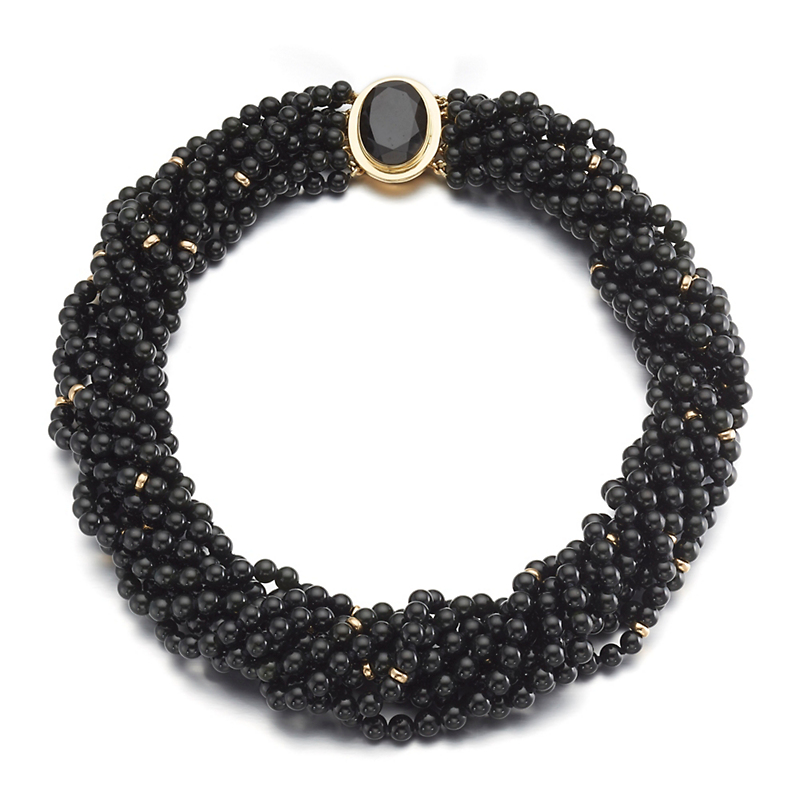 Gump's Nine-Strand Black Jade Twist Necklace With Faceted Jade Clasp