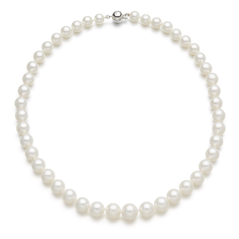 Gump's Graduated White South Sea Pearl Diamond Necklace