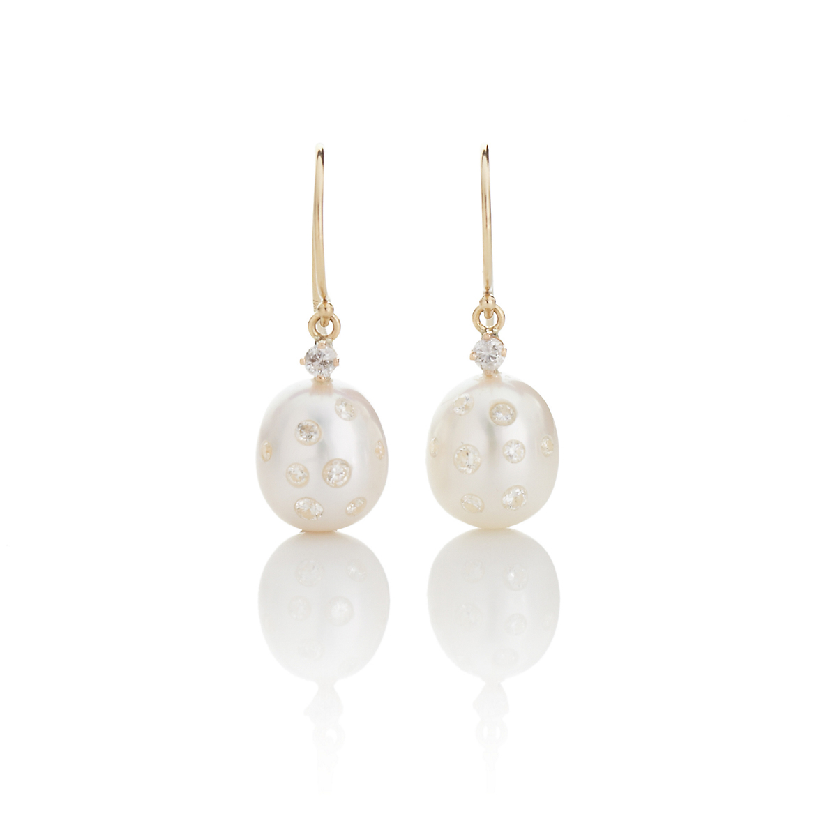 Russell Trusso White Freshwater Pearl & Embedded Diamond Drop Earrings
