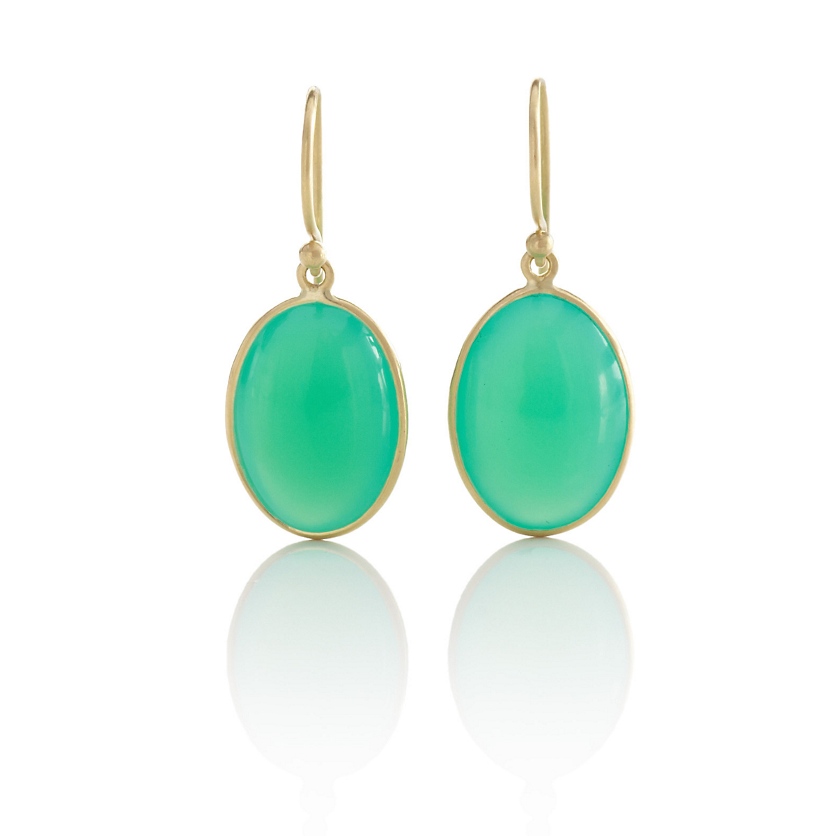 Kothari Chrysoprase Oval Drop Earrings