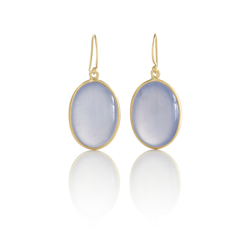 Kothari Oval Chalcedony Drop Earrings