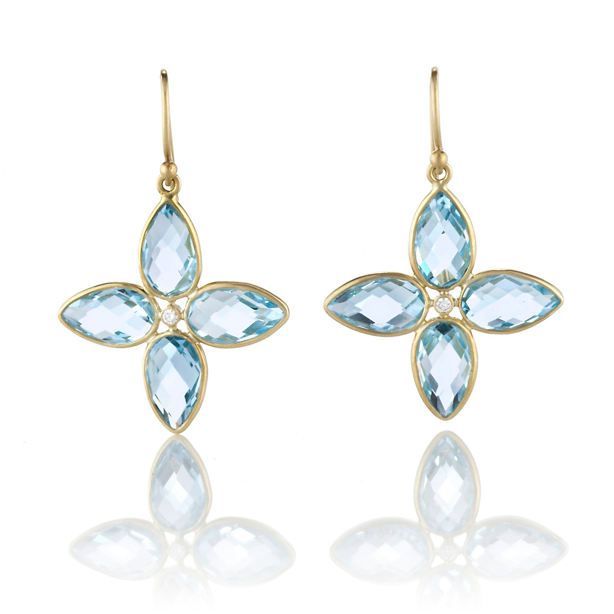 Kothari Blue Topaz Compass Earrings