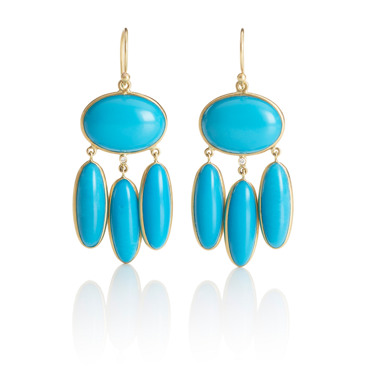 Kothari Turquoise Oval & Three Drop Earrings