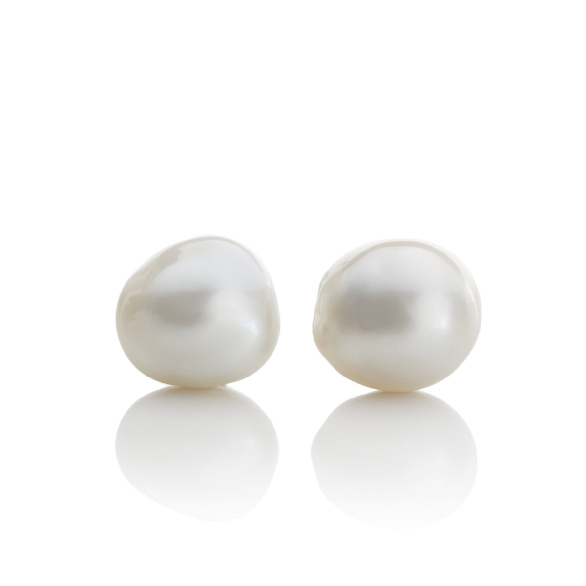 Gump's Baroque White South Sea Cultured Pearl Earrings