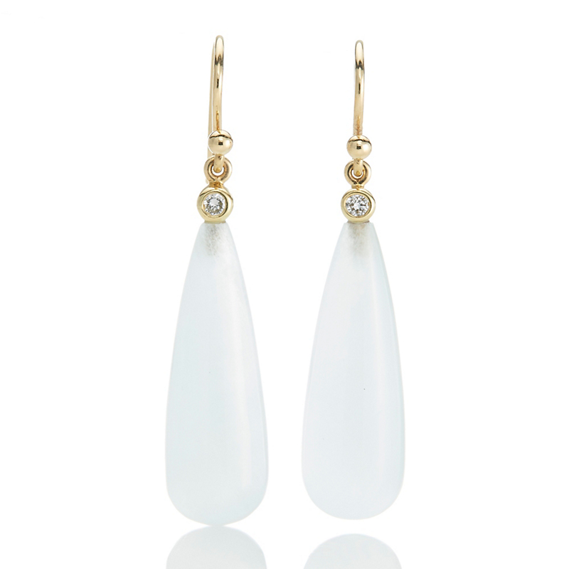 Gump's Aqua Teardrop Earrings with Diamond