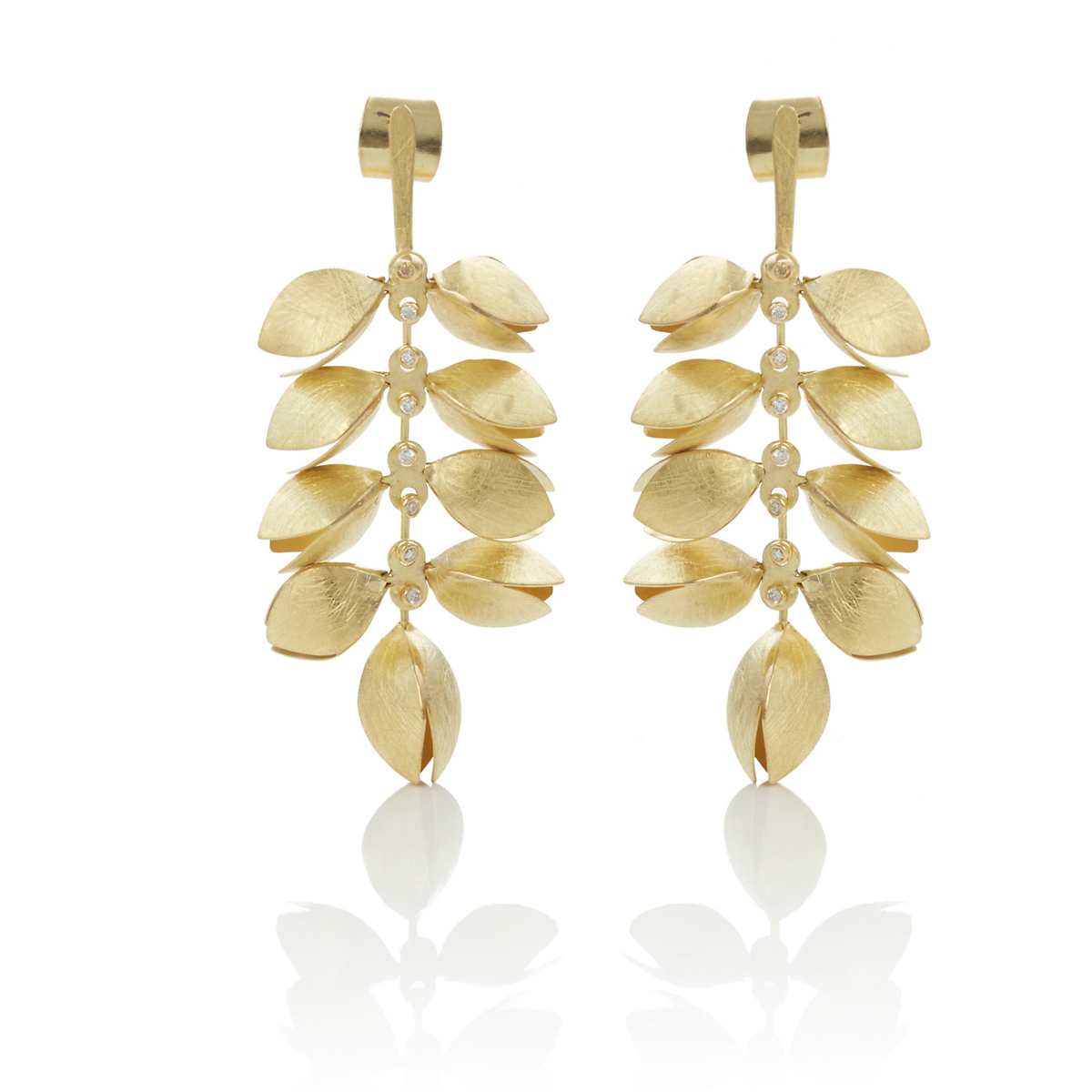 Majoral Large Origens Gold & Diamond Drop Earrings