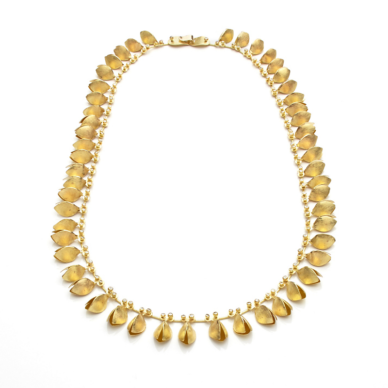 Majoral  Textured Gold Origens Necklace With Diamonds