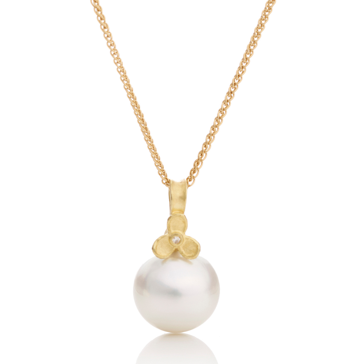 Barbara Heinrich Trillium Flower South Sea Pearl Pendant Necklace