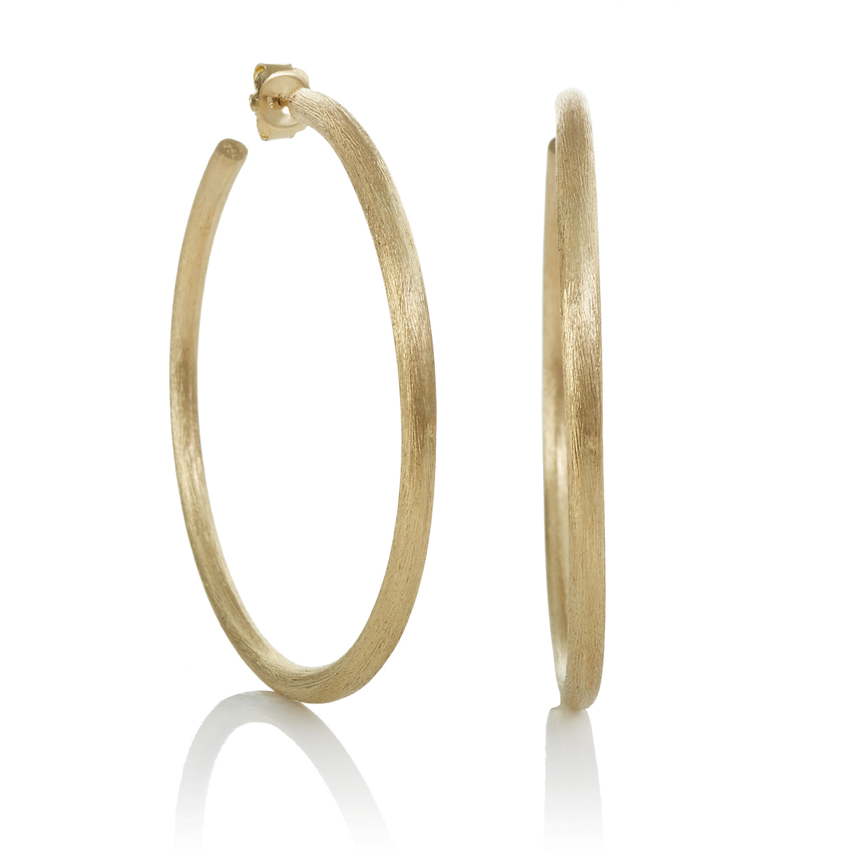 60mm Thin Brushed Gold Hoop Earrings