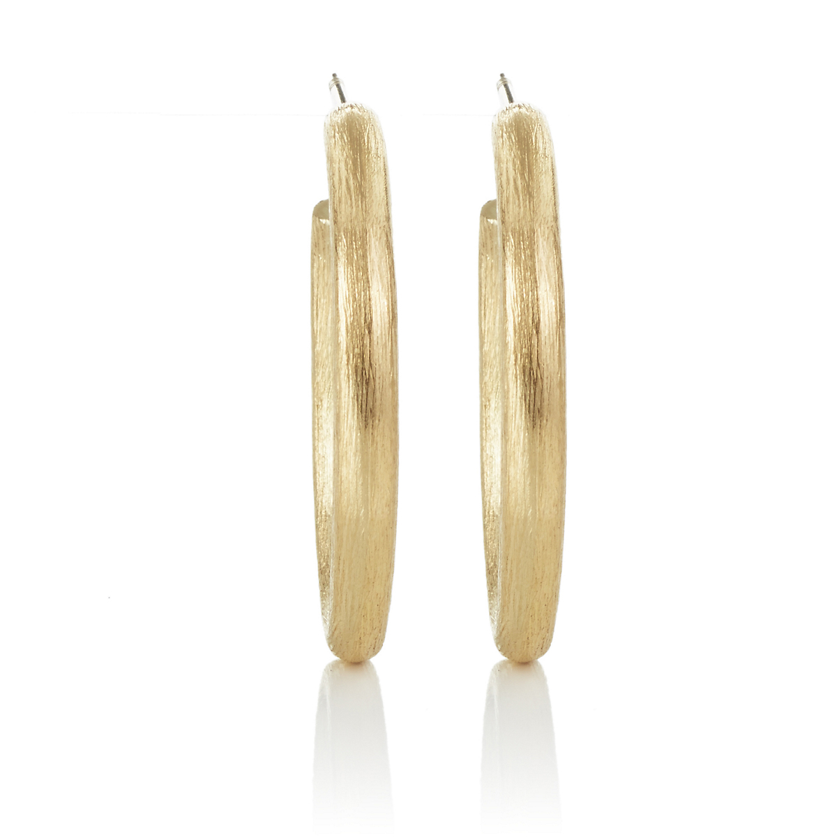 Oval Brushed Gold Hoop Earrings