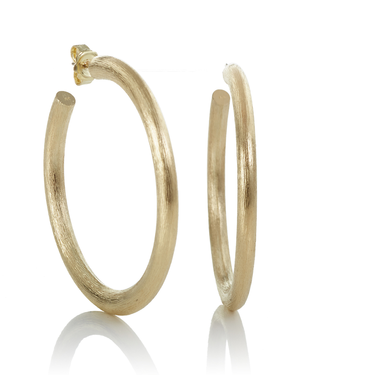 50mm Brushed Gold Hoop Earrings