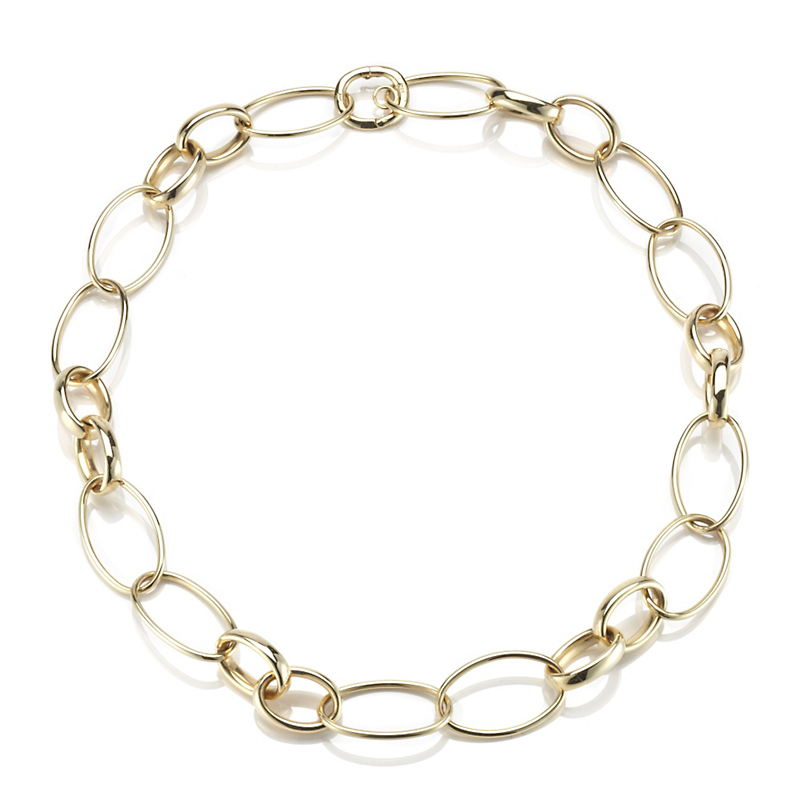 Oval Multi Link Gold Necklace