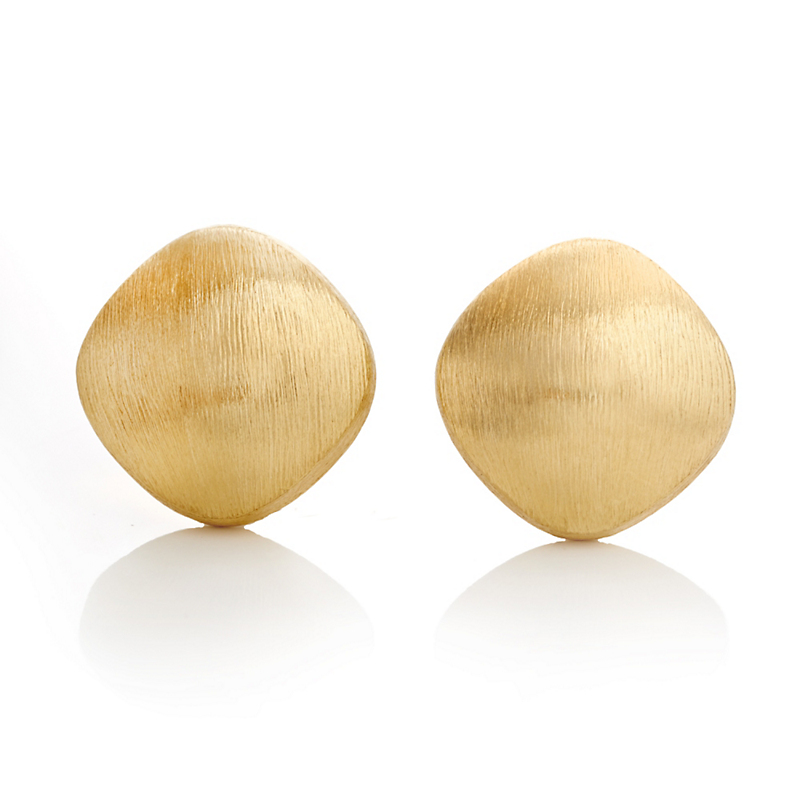 Square Brushed Gold Earrings