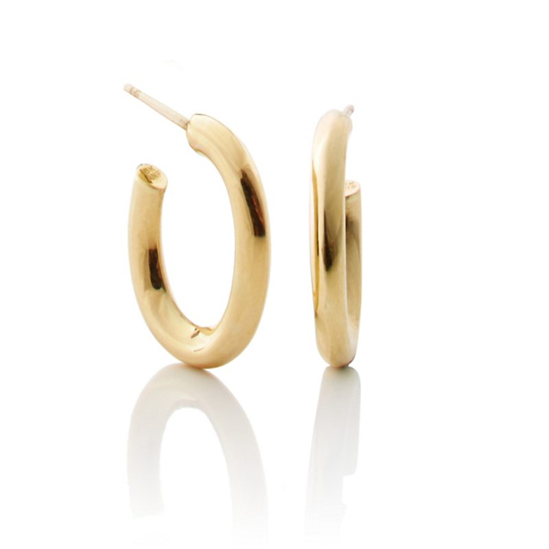 Gold Oval Hoop Earrings, Small