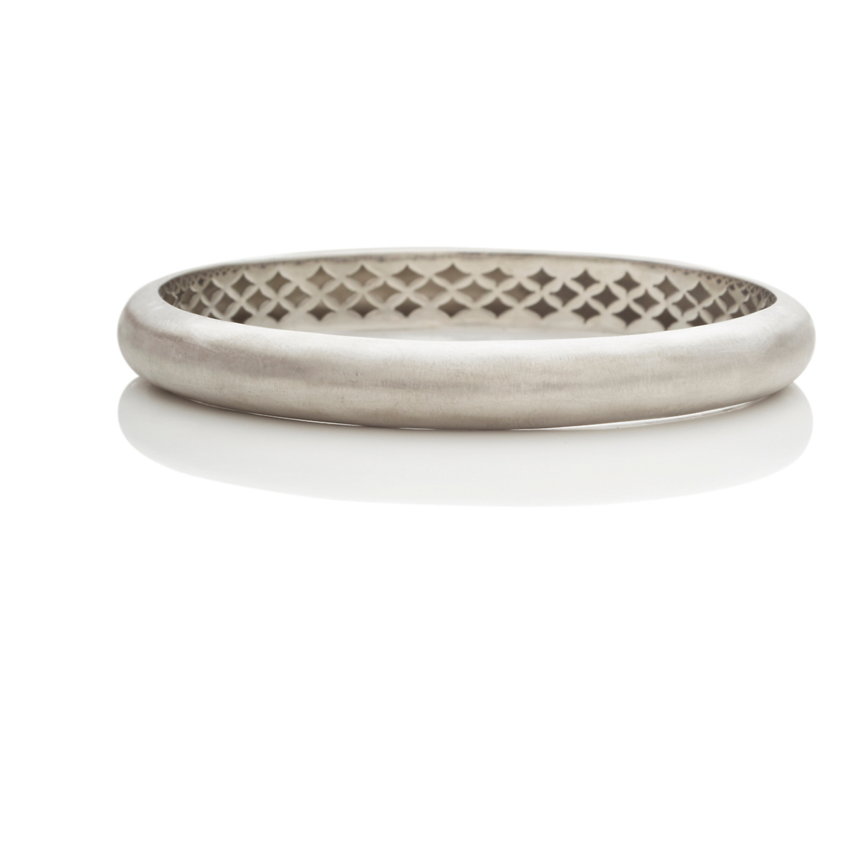 Brushed Silver Domed Bangle