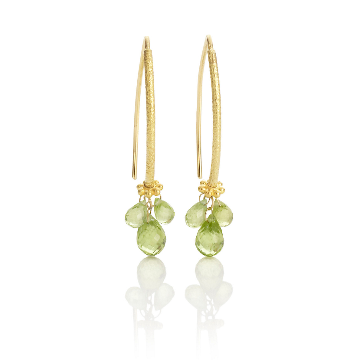 Barbara Heinrich Peridot Briolette Navette Earrings