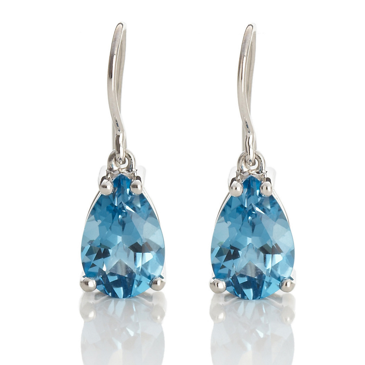 Gump's Faceted Deep Blue Teardrop Topaz Earrings