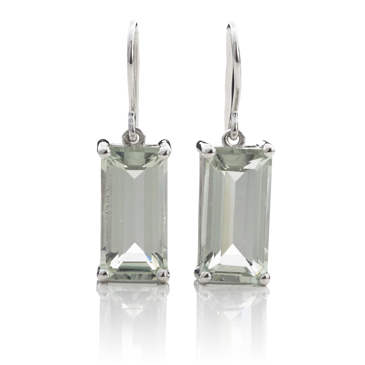 Gump's Faceted Green Quartz Rectangle Drop Earrings