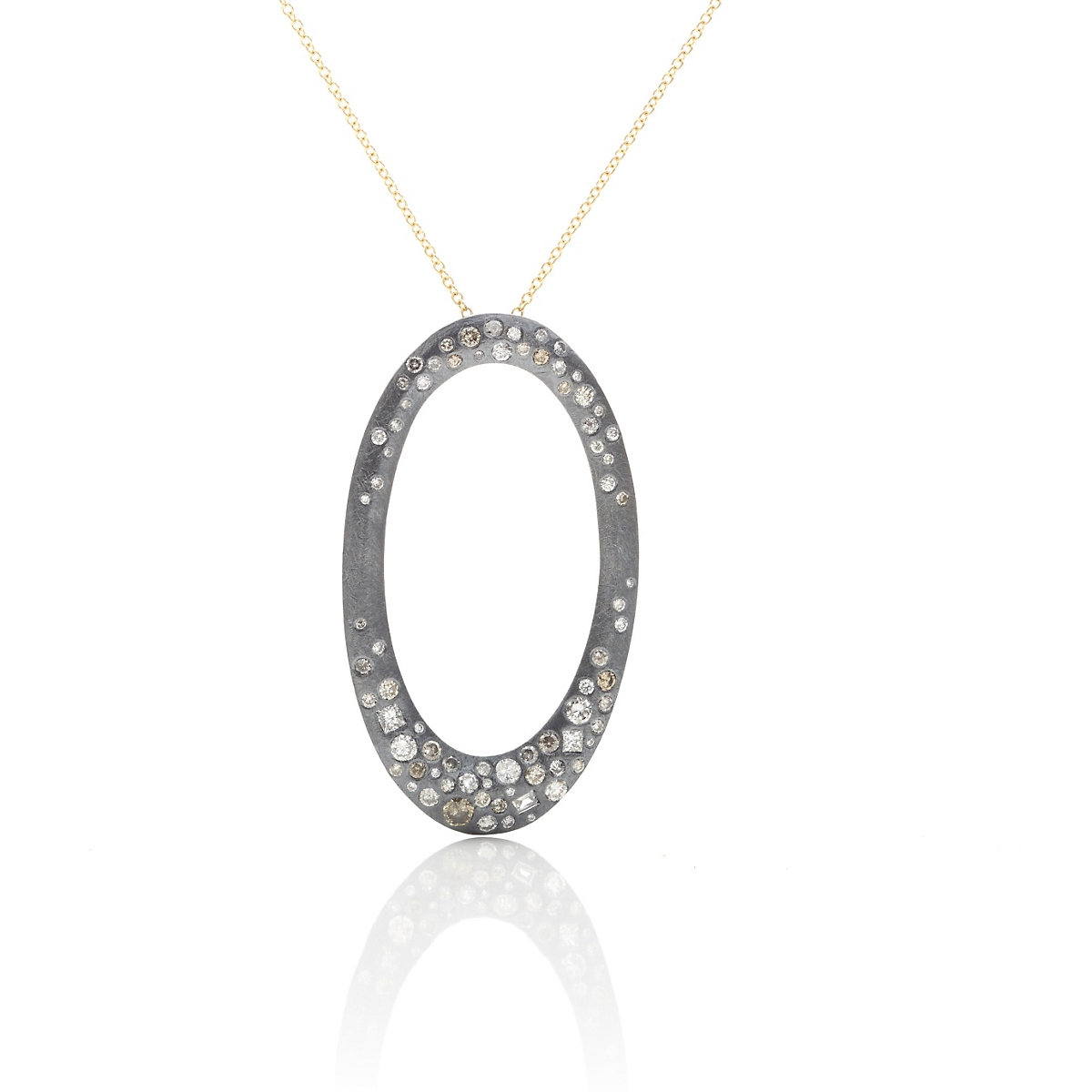 Todd Reed Oxidized Silver & Diamond Open Oval Pendant