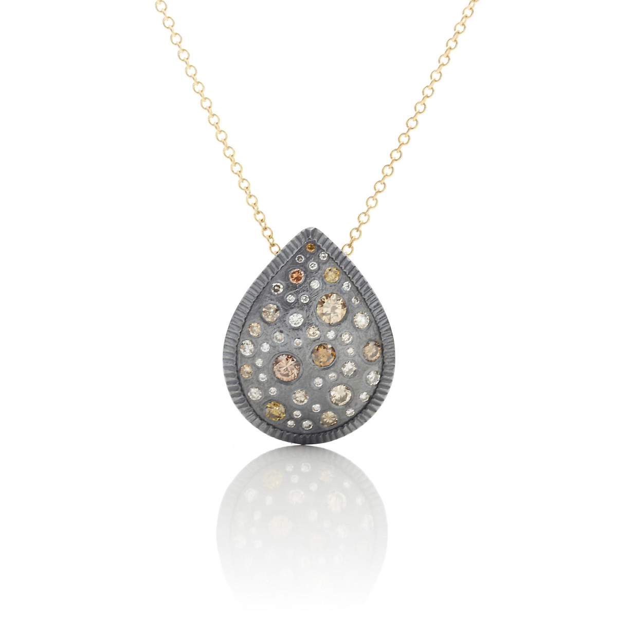 Todd Reed Oxidized Silver & Diamond Pear Shape Pendant