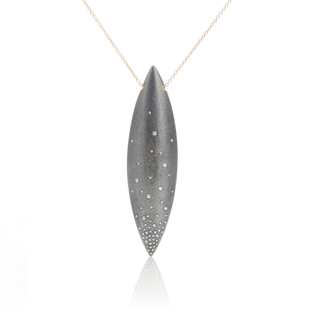 Todd Reed Oxidized Silver & Diamond Navette Pendant