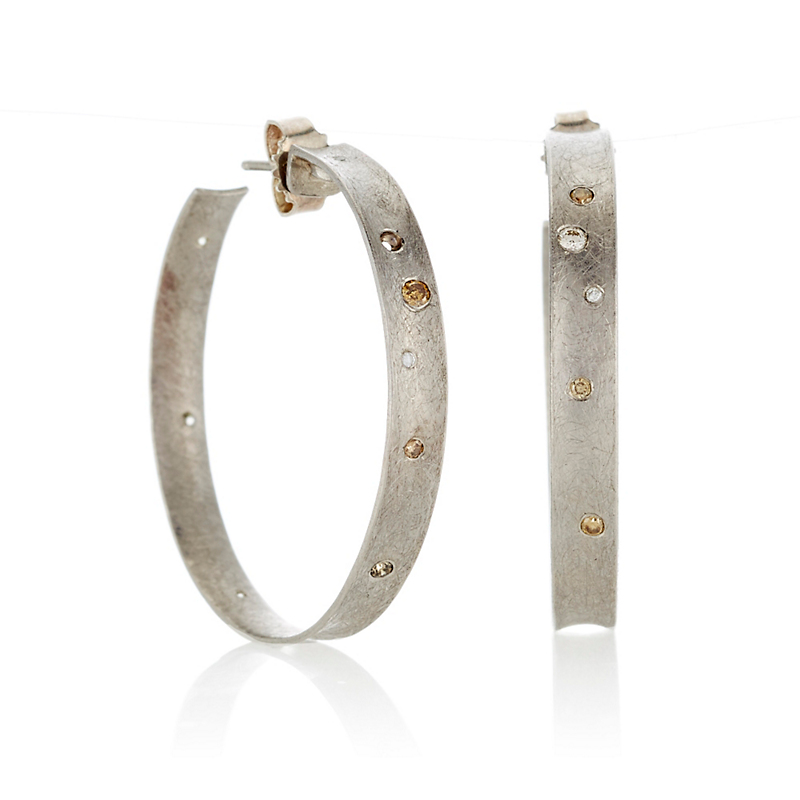 Todd Reed Palladium With Gray & Cognac Diamond Hoop Earrings